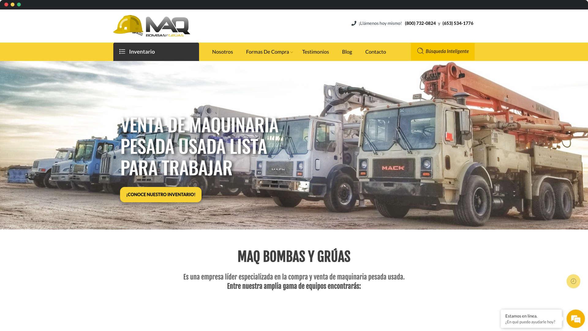 captura de pantalla de sitio web de MAQ Bombas y Grúas