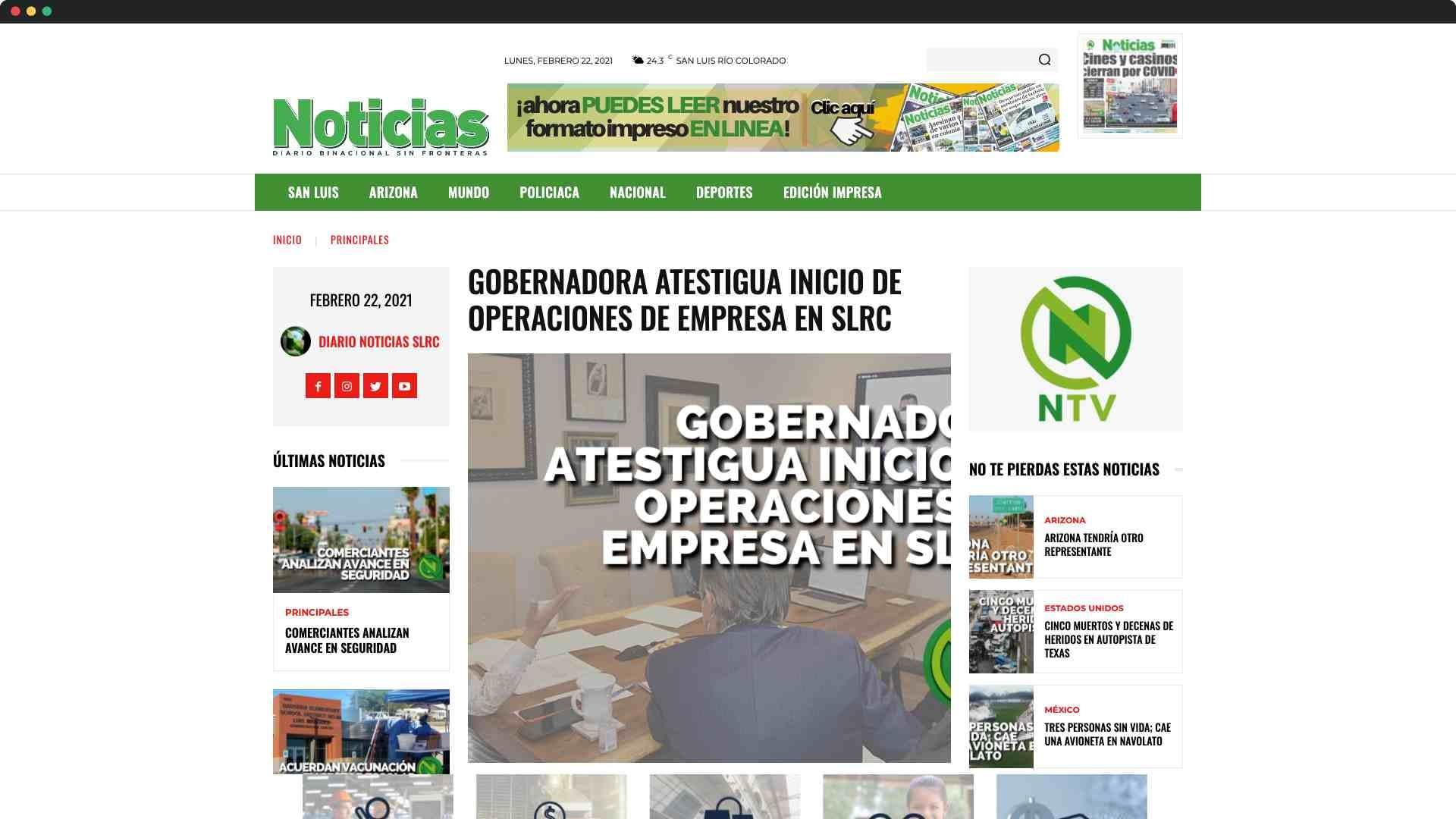 Captura de pantalla de diarionoticias.info